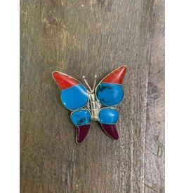 Inlaid Gem Butterfly Brooch, Mexico