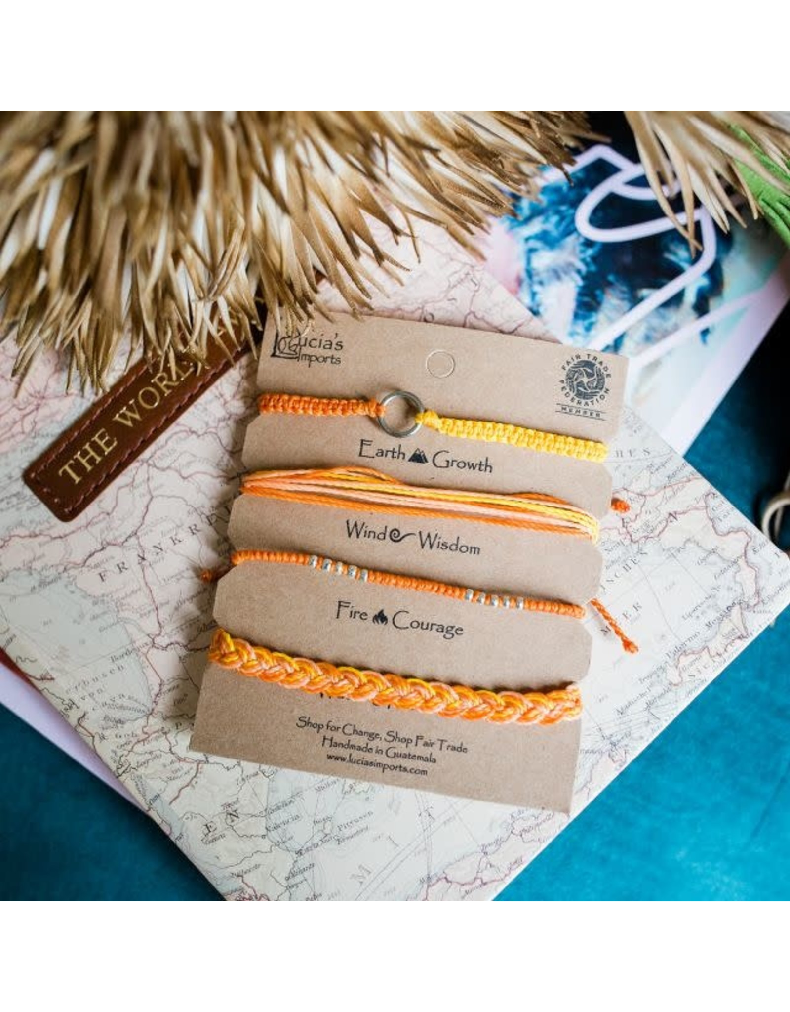 Elements Carded Bracelet Set, Orange,  Guatemala