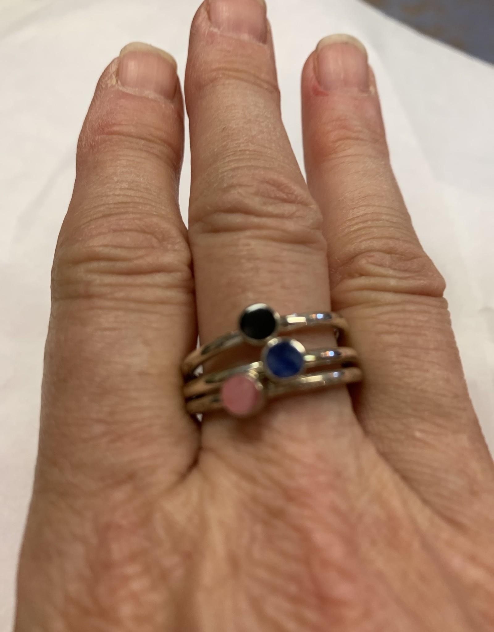 Sterling, 3 Gem stackable Ring, Size 9