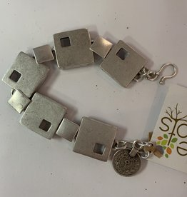 Sterling Silver Plated March of Squares Bracelet