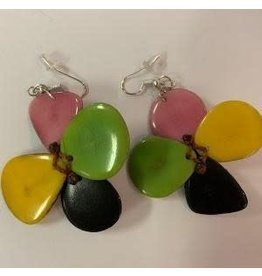 Tagua  Fashion Earrings, Flower, Ecuador