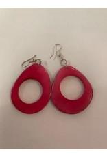 Tagua Fashion Earrings, Pink Oval w/Hole, Ecuador