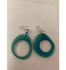 Tagua Fashion Earrings, Turquoise Oval w/Hole, Ecuador