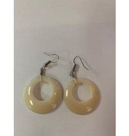 Tagua Fashion Earrings, White Circle w/Hole, Ecuador