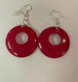 Tagua Fashion Earrings, Pink Circle w/Hole