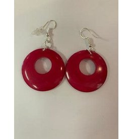 Tagua Fashion Earrings, Pink Circle w/Hole, Ecuador