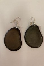 Tagua Fashion Earrings, Solid Gray