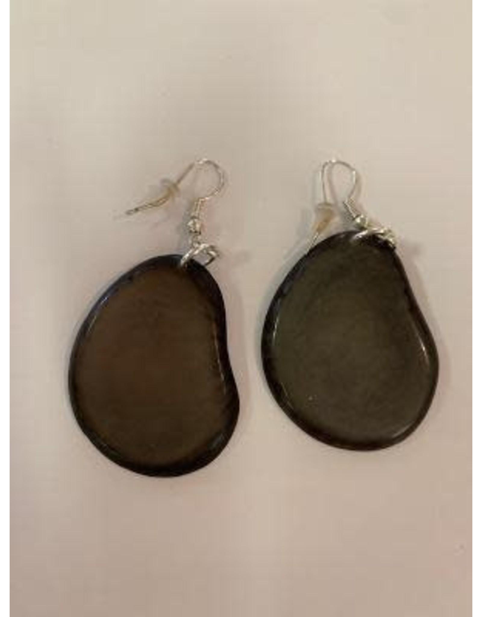 Tagua Fashion Earrings, Solid Gray, Ecuador