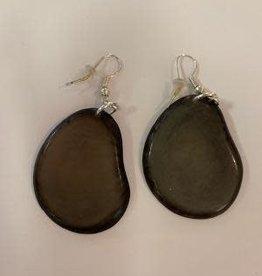 Tagua Fashion Earrings, Solid Gray