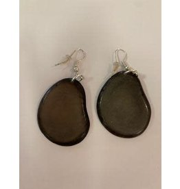 Tagua Fashion Earrings, Solid Gray, Ecuador
