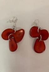 Tagua Fashion Earrings, 3 Petals Red