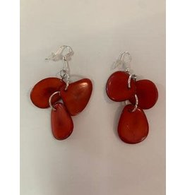 Tagua Fashion Earrings, 3 Petals Red, Ecuador