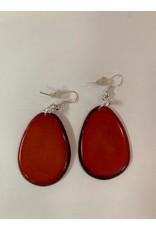 Tagua Fashion Earrings, Solid Red, Ecuador
