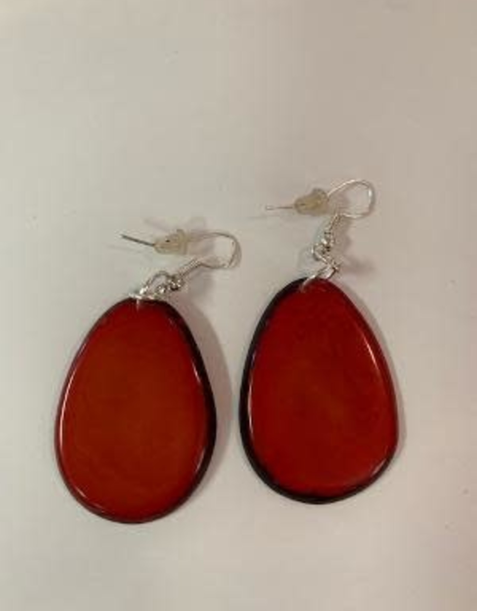 Tagua Fashion Earrings, Solid Red