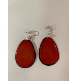Tagua Fashion Earrings, Solid Red, Ecuador