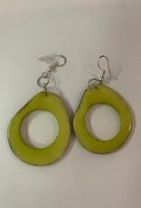 Tagua Fashion Earrings, Lime Green Oval w/Hole