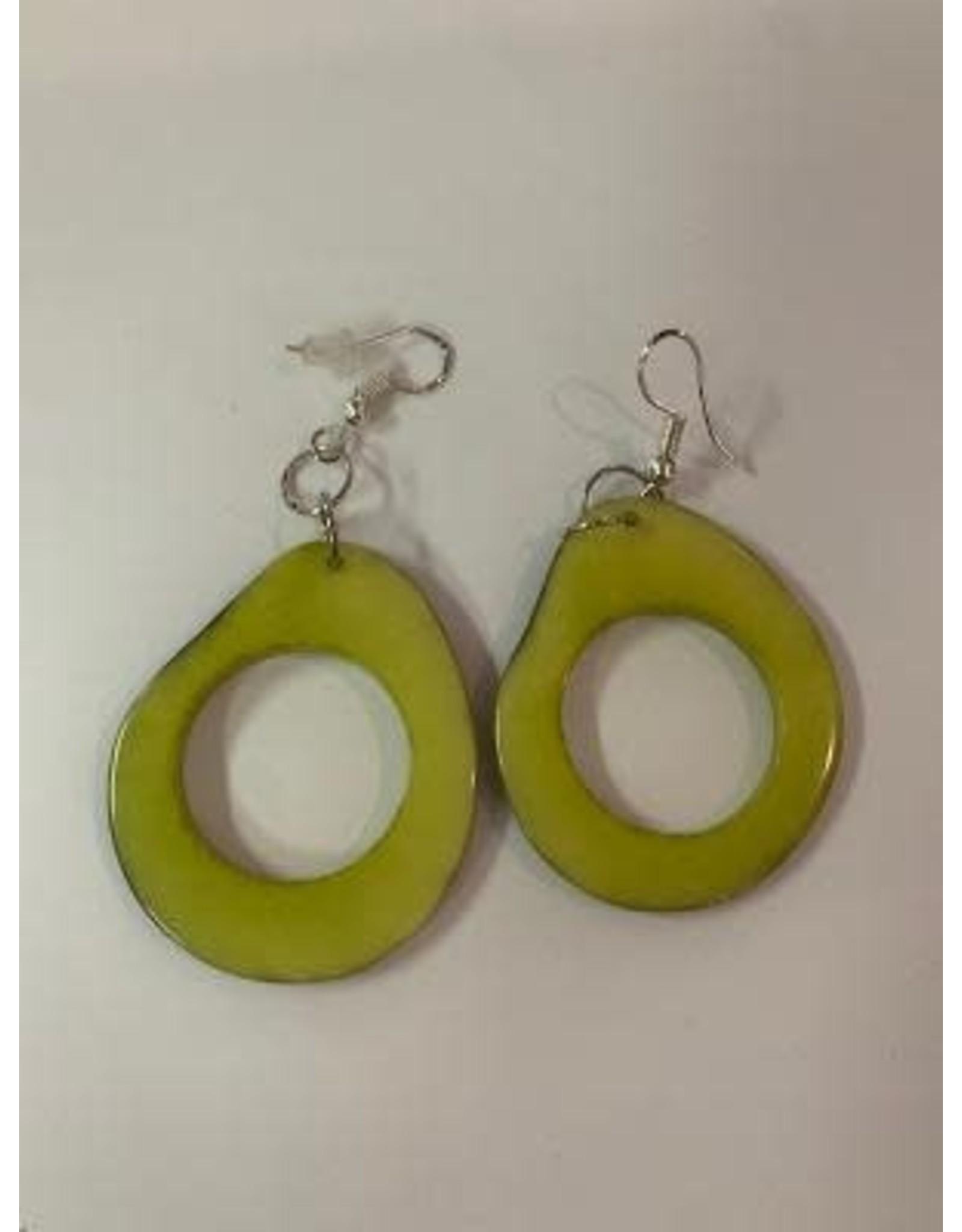 Tagua Fashion Earrings, Lime Green Oval w/Hole, Ecuador