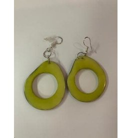 Tagua Fashion Earrings, Lime Green Oval w/Hole, Ecuador