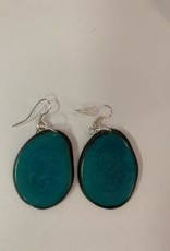 Tagua Fashion Earrings, Solid Turquoise