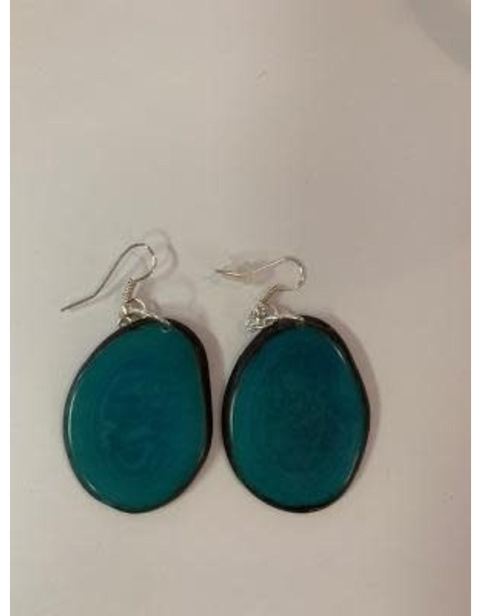 Tagua Fashion Earrings, Solid Turquoise, Ecuador