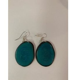 Tagua Fashion Earrings, Solid Turquoise, Ecuador