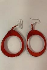 Tagua Fashion Earrings, Red Oval w/Hole
