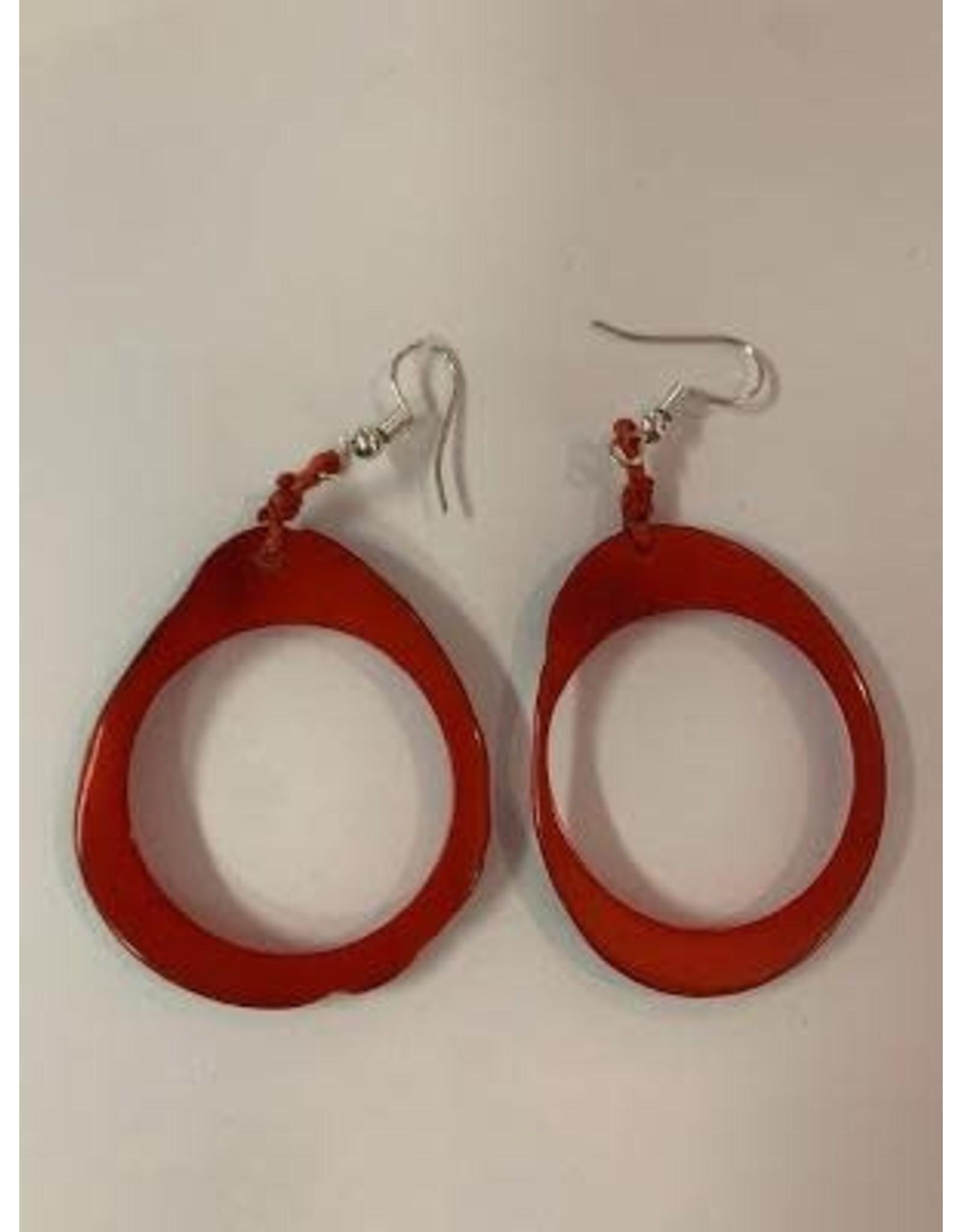 Tagua Fashion Earrings, Red Oval w/Hole, Ecuador
