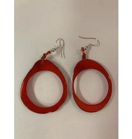 Tagua Fashion Earrings, Red Oval w/Hole, Ecuador