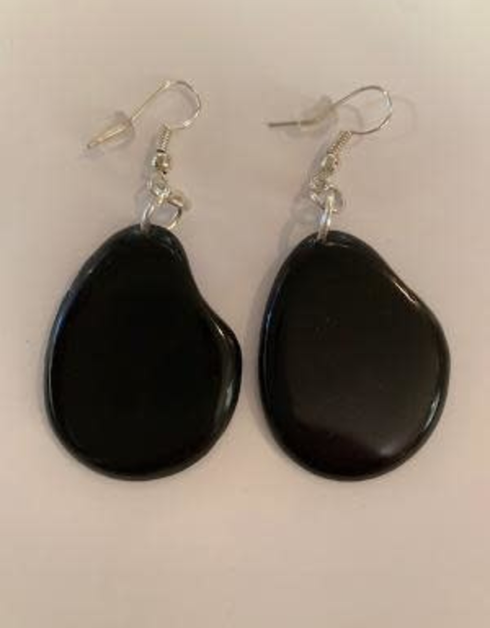 Tagua Fashion  Earrings, Solid Black