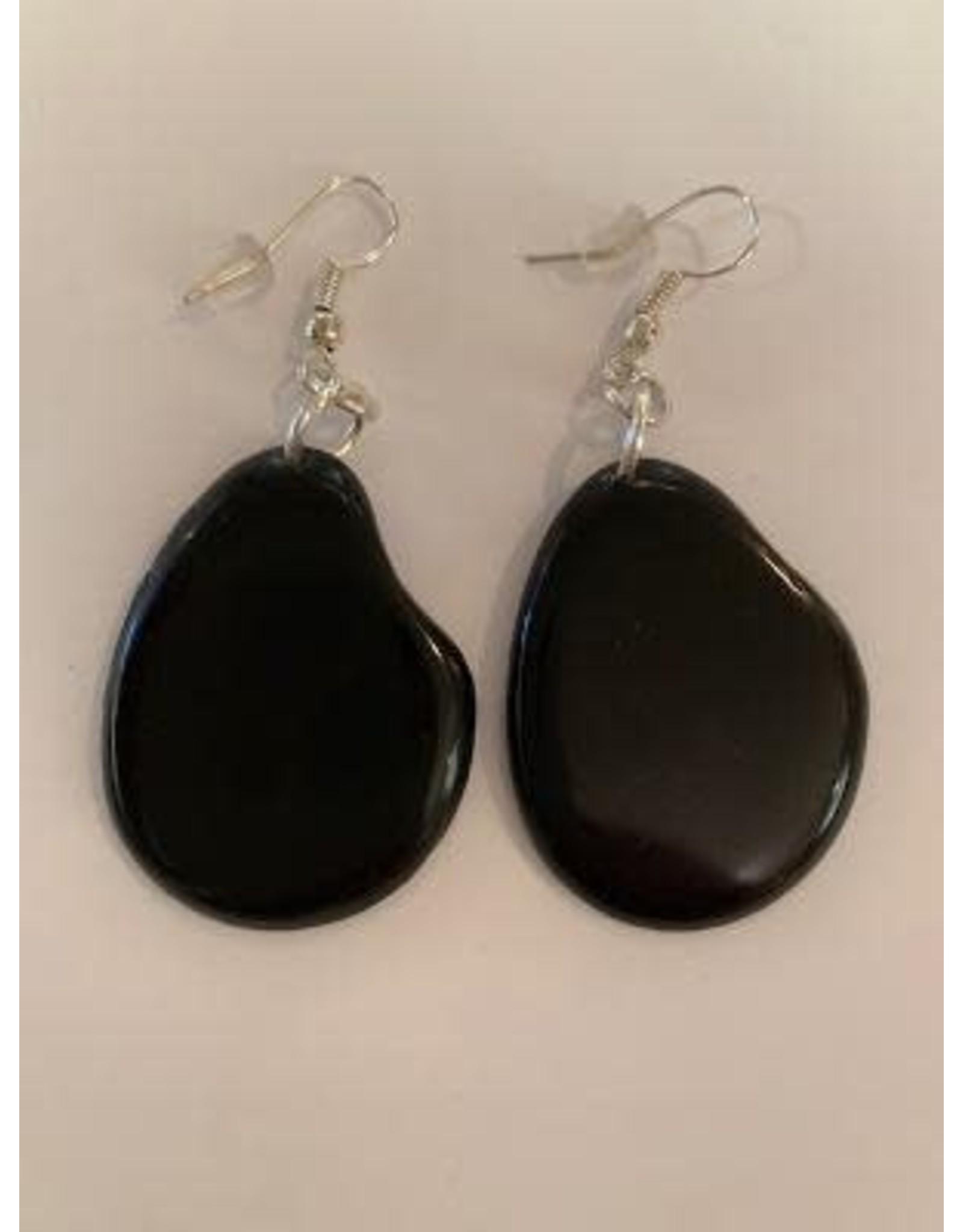 Tagua Fashion  Earrings, Solid Black, Ecuador