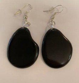 Tagua Fashion  Earrings, Solid Black