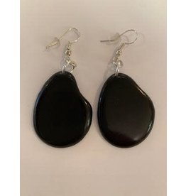 Tagua Fashion  Earrings, Solid Black, Ecuador