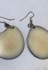 Tagua Fashion Earrings, Solid White