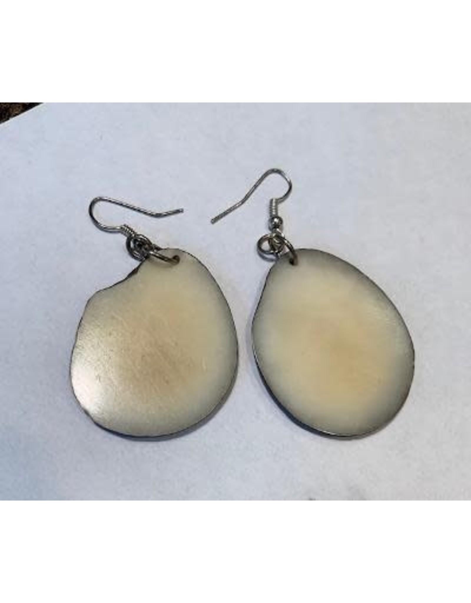 Tagua Fashion Earrings, Solid White, Ecuador