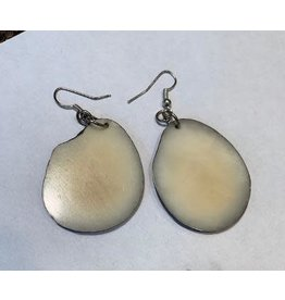 Tagua Fashion Earrings, Solid White, Ecuador