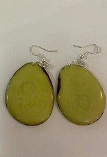 Tagua Fashion Earrings, Solid Lime Green