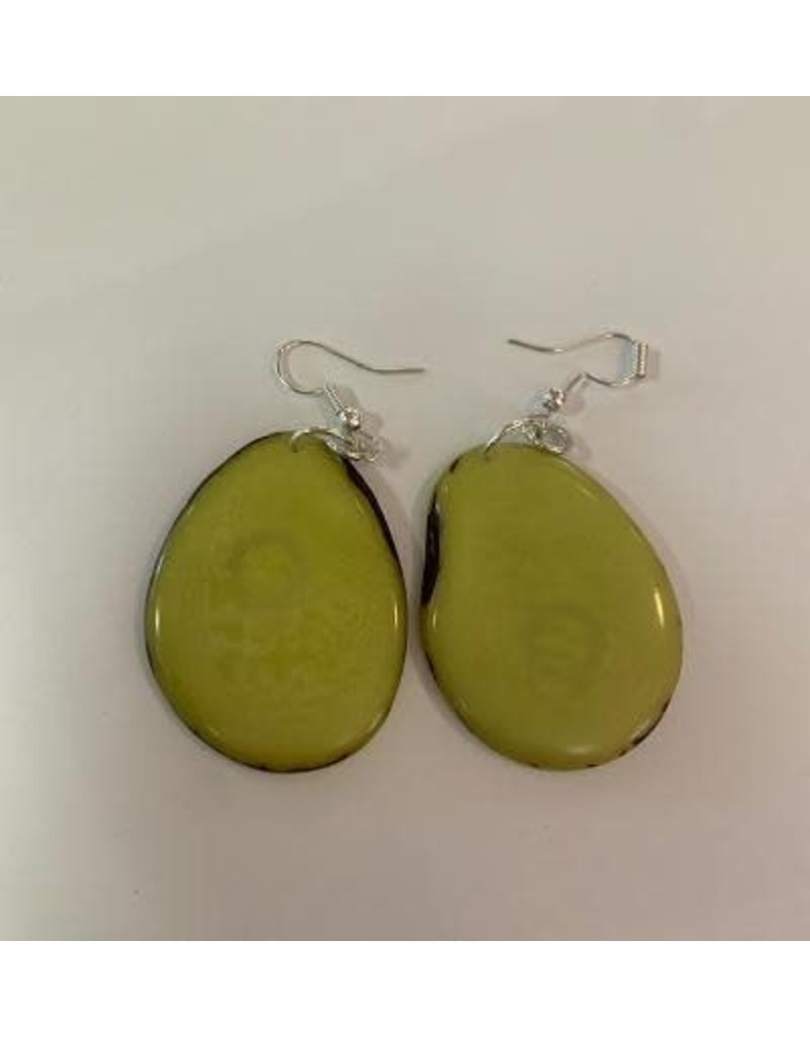 Tagua Fashion Earrings, Solid Lime Green, Ecuador