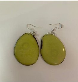 Tagua Fashion Earrings, Solid Lime Green, Ecuador