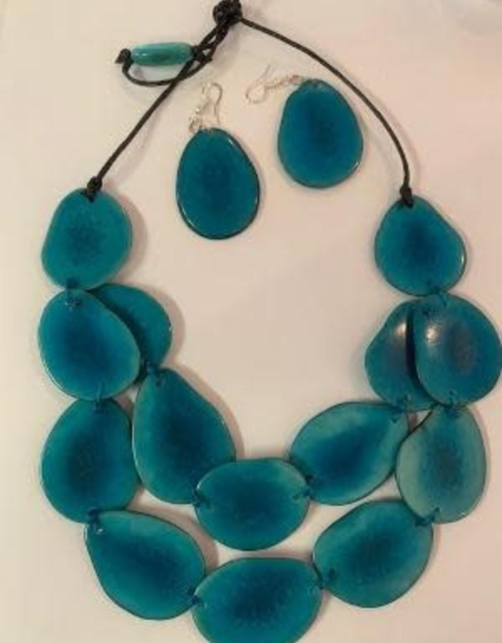 Double Slice Tagua Necklace and Earrings, Aqua