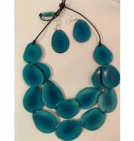 Double Slice Tagua Necklace and Earrings, Aqua, Ecuador