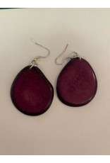 Tagua Fashion Earrings, Solid Purple, Ecuador