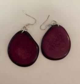 Tagua Fashion Earrings, Solid Purple