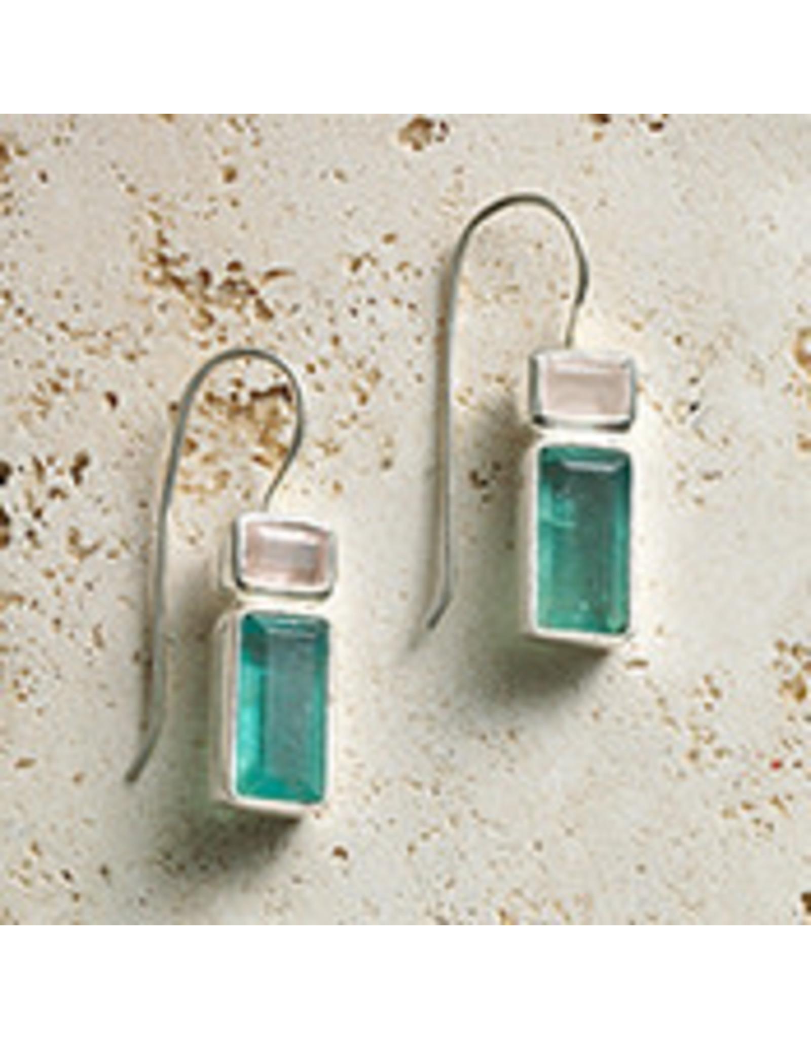Verde Apatite Gem Stone Earrings,Peru