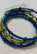 Glass Bead & Telephone Wire Bracelet, Blue and Green