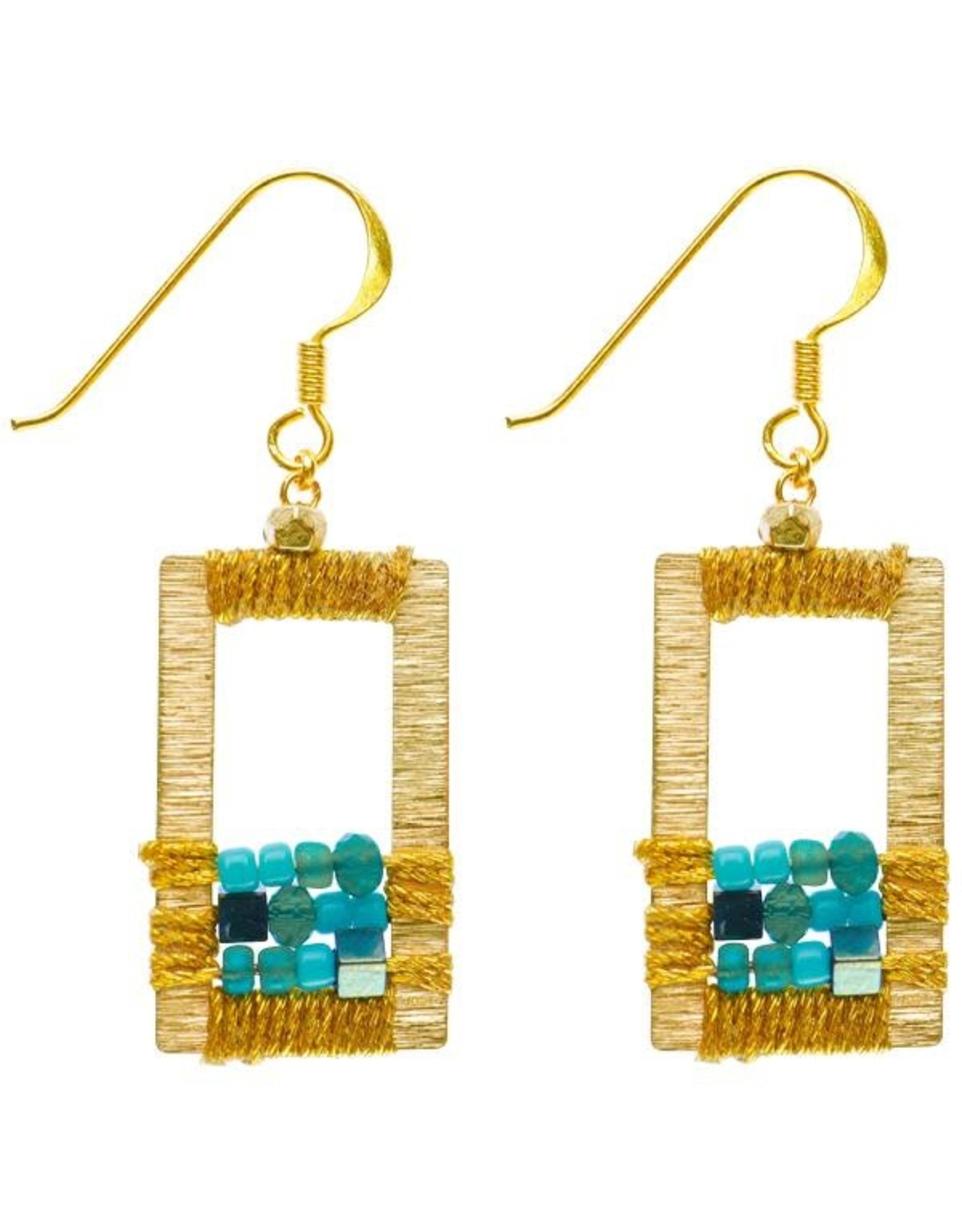 Rose Draped Geometric Earrings, Turquoise