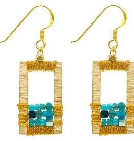 Rose Draped Geometric Earrings, Turquoise
