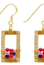 Rose Draped  Geometric Earrings, Cherry