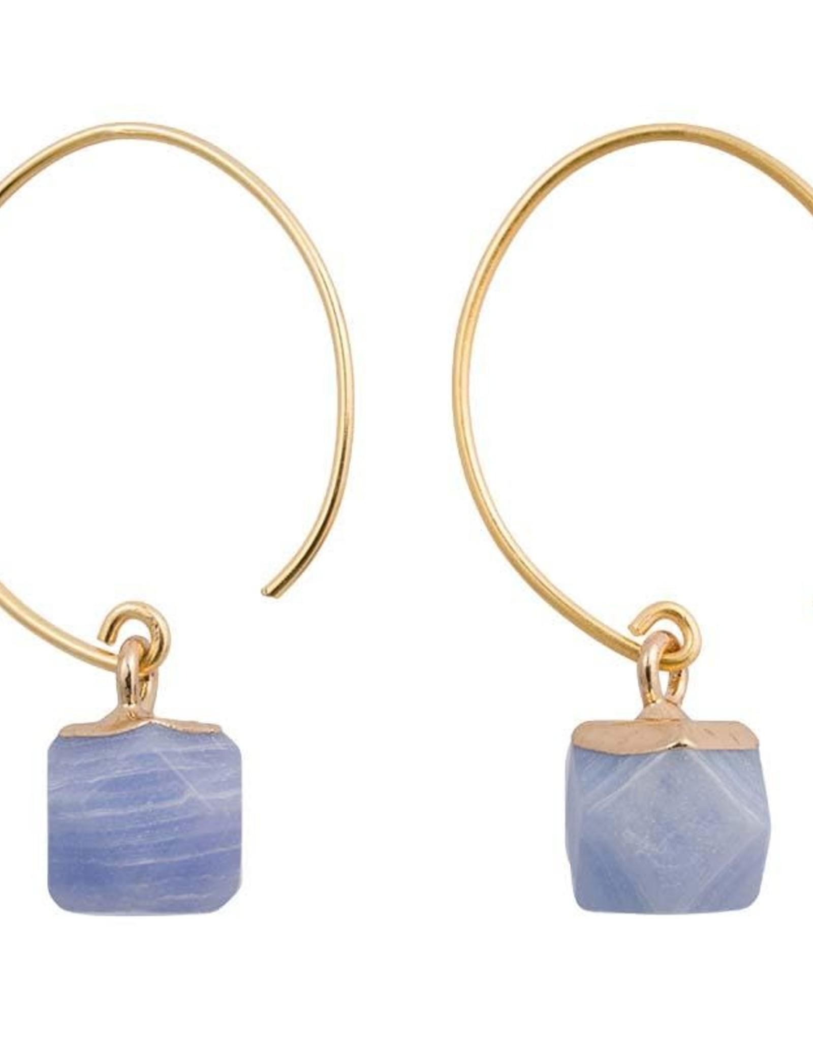Clara Chic Brass and Stone Earrings, Chalcedony