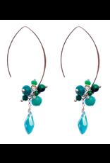 Jen Clustered Crystal Earrings, Turquoise