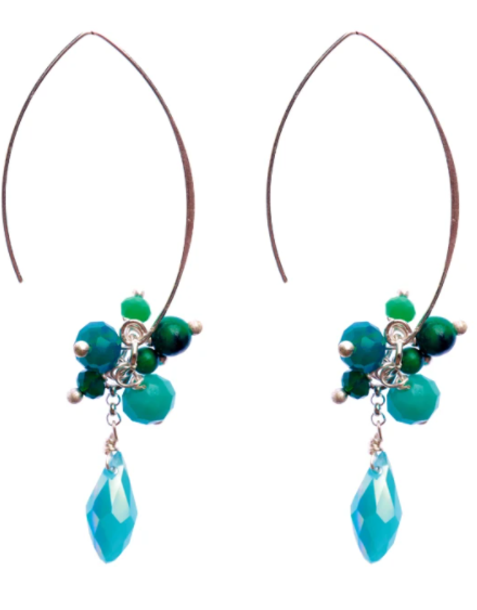 Jen Clustered Crystal Earrings, Turquoise